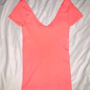 Bebe Coral Pink Bodycon Scoop neck Shirt